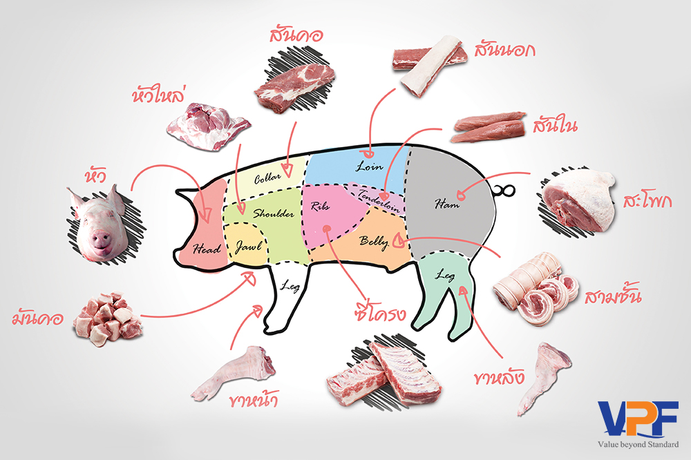เนื้อหมูส่วนต่างๆ หมูแต่ละส่วน
